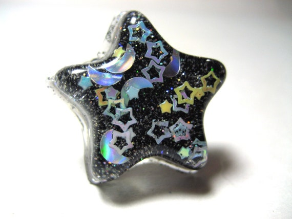 Galaxy Resin Ring - Black glitter star shaped ring with moons and stars