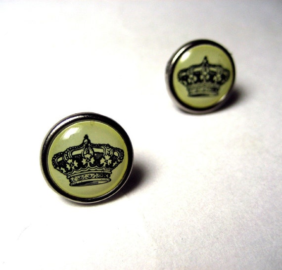 Royal Crown Circular Studs - Ivory and Black crown design on hypoallergenic post earrings