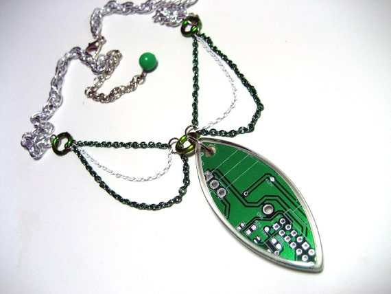 Circuit Board Necklace - Computer Nerd Necklace made with circuit board pendant and layered silver white green chain - Geek Chic Technophile