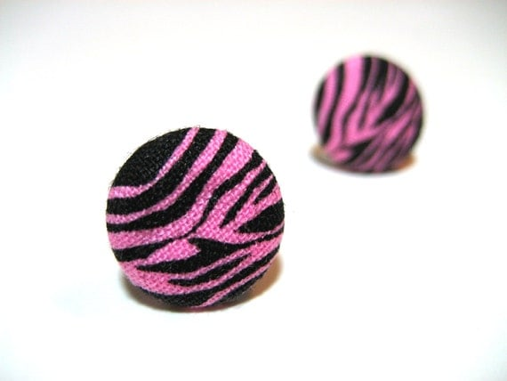 Pink Zebra Earrings - Hot pink and black zebra print fabric hypoallergenic post studs