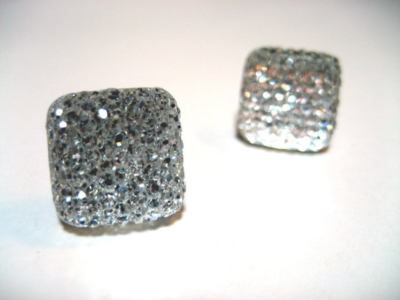 Square Ice Earrings - Crystal clear frozen crystallized hypoallergenic studs