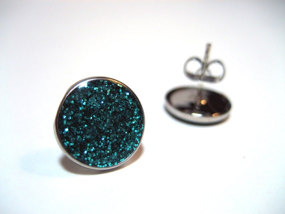 Teal Glitter Studs - Super sparkly aqua turquoise glitter filled hypoallergenic metal post earrings