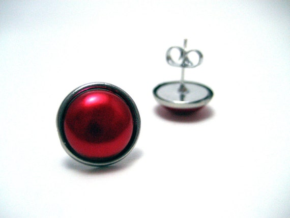 Red Pearl Studs - Metal post earrings with ruby red faux plastic pearl