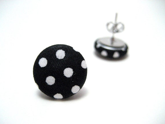 POLKA DOT Studs - Black and white polka dot fabric on hypoallergenic post earrings studs modern rockabilly