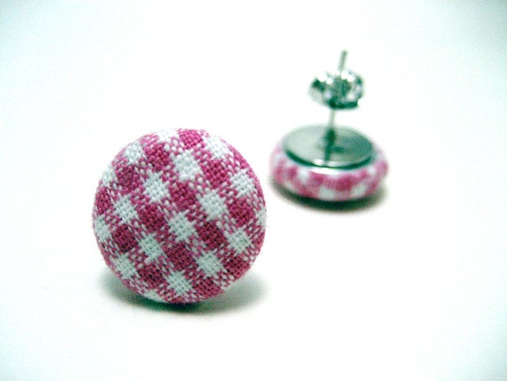 Pink Gingham Studs - Baby pink and white checker plaid fabric on hypoallergenic post earrings studs modern rockabilly