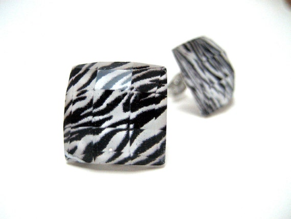 Zebra Square Studs - Black and White animal print faceted square rhinestone hypoallergenic post earrings