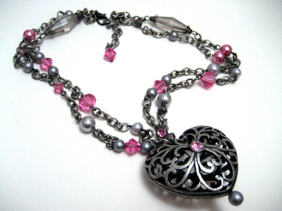 Soft Gray and Pink Filigree Heart Necklace - Large heart pendant accented with pink rhinestones pink and gray pearls CLEARANCE