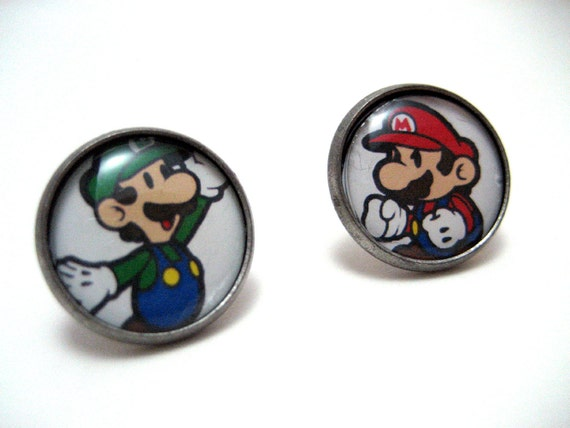 Mario Bros Studs - Mario and Luigi Nintendo bezel post earrings - LARGE 14mm - Geek Chic Gamer Jewelry