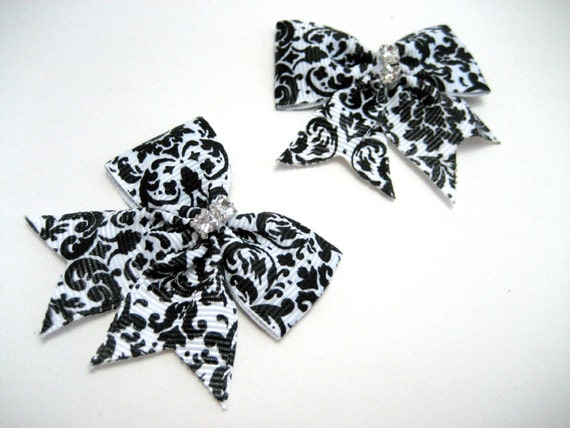 Black Damask Hairbow -  Black and white damask print with rhinestones alligator hair clip barrettes x2