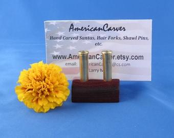 Business Card Holder - Padauk Wood and Brass Shell Casings