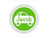 The JACOB Set - Car Circle - Vinyl Name Labels - 30 qty - Waterproof for kids