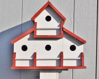 Cedar Birdhouse:Lg- country red /white barn  4 sep.compartment.rail perch...free shipping