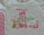 NEW..Hoot Owl Personalized Pink Damask Bodysuit or Shirt