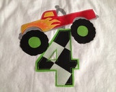 Personalized Monster Truck Name and Number Birthday Shirt