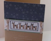 Handmade reindeer card, vintage violet and creamy caramel