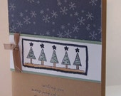 Handmade Holiday tree card with vintage violet and creamy caramel