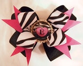 Zebra Double Boutique Hairbow with Initial Bottle Cap Center