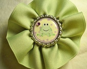 Green Swirl Ribbon Hair or Hat Clip with Green Frog Bottle Cap Center