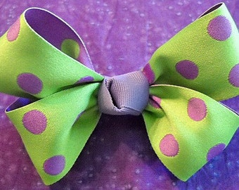 Lime Green with Purple Polka Dot Hairbow
