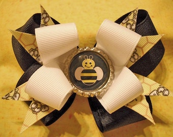 Bumble Bee Double Hairbow with Bottle Cap Center