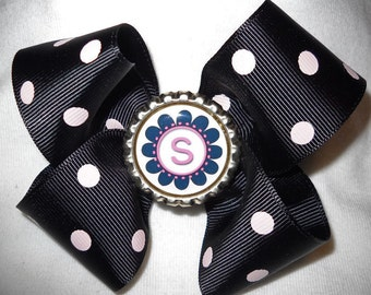 Black and White Polka Dot Boutique Haribow with Initial Bottlecap