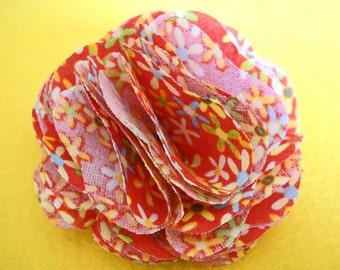 Floral Fabric Rosette Hair/Hat Clip