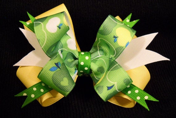 Green Apple Double Hairbow