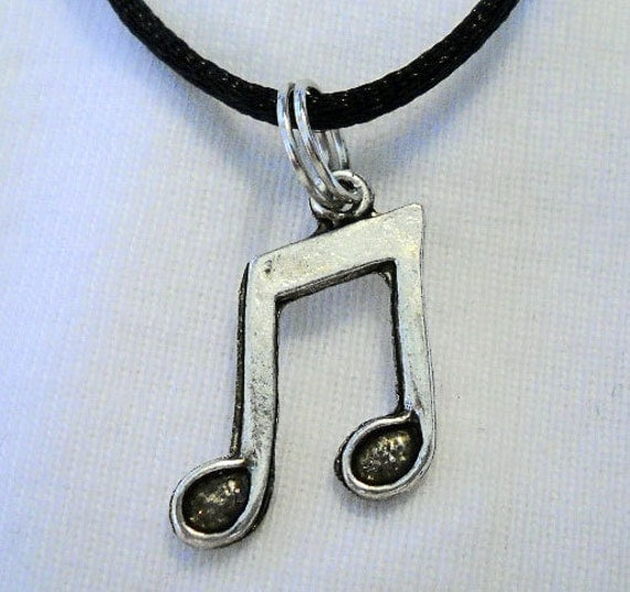 Tibetan Silver Music Note Necklace with Black Satin Cord