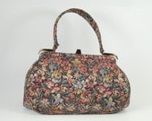Vintage Tapestry Kelly Bag Floral Print with Gold and Silver Lame Metallic Threads