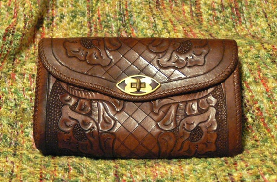Vintage Mexican Tooled Leather Clutch Purse with Alligator Lining
