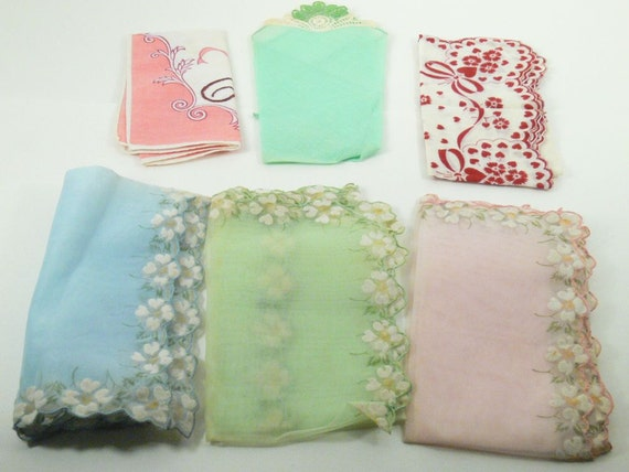 Hankies Lot of 6 Vintage Handkerchiefs Chiffon, Flowers Hearts and Bows