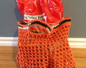 Orange Zebra Crochet Re-usable Shopping Market Tote