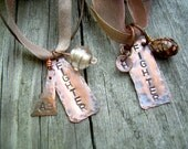 custom for Kathleen Cavanaugh,FIGHTER OR FRIEND,  a stamped metal pendant necklace