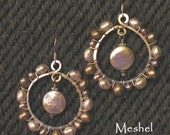 Reserved for JADE:  Woven Pearl Earrings with Creamy White Coin Pearl Drop Centers