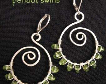 PERIDOT SWIRLS  Peridot Gemstone and Sterling Silver Earrings Artisan Crafted by Meshel Designs