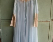 Lingeri 1950's Intime California Night Gown, Peignoir, Chiffon, Nylon, Lace, Scoop Neckline, Baby Blue, Impeccable condition, Ladies Size M