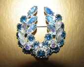 1950's Rhinestone Costume Jewelry Brooch Teal Green Blue Ornate, Retro 50's Classic  Galveston Island Oak Leaf Aviator cluster Aviatrix  84a