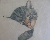 1937 Chessie Chesapeake Ohio Railway Mascot Railway Kitten Circa 1930's, Cat The kitten that road the train all over the USA Railroad Art