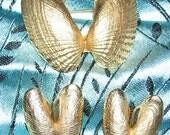 Vintage Napier Seashell Brooch, Clip-On Earrings, Nautical, Golden, Beach Sea Shells