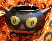 Black Cat, Vintage Inspired Halloween Black Cat , Bowl, Candle Holder, Candy Dish, retro Satan Kitten, Evil Cat Eyes Trick or Treat