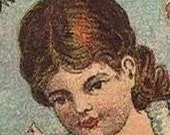 Advertising Trade Card, 1800's Victorian Excelsior Starch Little Girl on a Swing antique merchandise  memorabilia vintage Americana