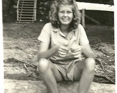 B&W Photograph, 1948 Ruth Ann, Mary Jane Collection, Summer Camp, Relaxing Summer Break