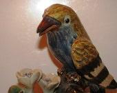PRICE REDUCED 1930's Art Deco Song Bird & Flowers Figurine,  like Raku Art Pottery antique sculpture  retro 30's Oriental