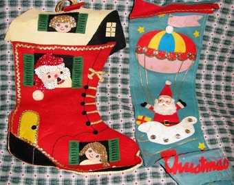 1960's Stockings, Santa in Christmas Boot, Children, Boy and Girl, Santa in a Air Balloon, Fireplace Stockings, Felt, Trim 2 Stockings