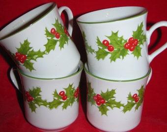 Holly Christmas Mugs, 4 Egg Nog Mugs, Brazil, Porcelain by Schmidt, Festive Coffee Mugs, Cups