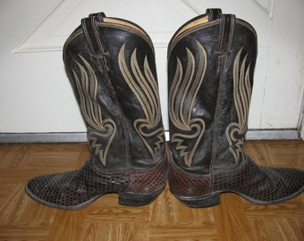 Cowboy Mens Boots, Vintage  Tony Lama Boot Scoot Boogie Boot Sz 9 & half, Leather work boots