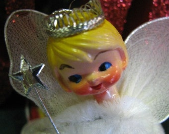 Angel, Wire Pic Angel, Angel Wings, Chenille, Glenda the good Fairy, Blonde Angel, Cherub, Angelic, Christmas Decor