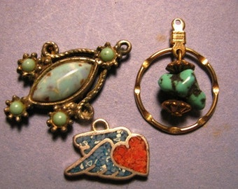 Jewelry Turquoise & Silver Charms vintage 1970's  Heart, Ornate 3 Silver Charm Pedants, retro 70's 3 charms unique Jeweler Artist supplies