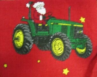 "Santa on a John Deer Tractor, 7"" Quilt Squares, Quilt Squares, Holiday Fabric, Kris Kringle, Santa Claus"