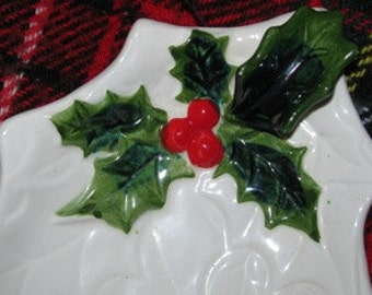 Vintage 1970's Christmas Lefton Holly Berry Plate, Candy Dish, Winter Green, White, Pottery retro 70's X-Mas Holiday collectible